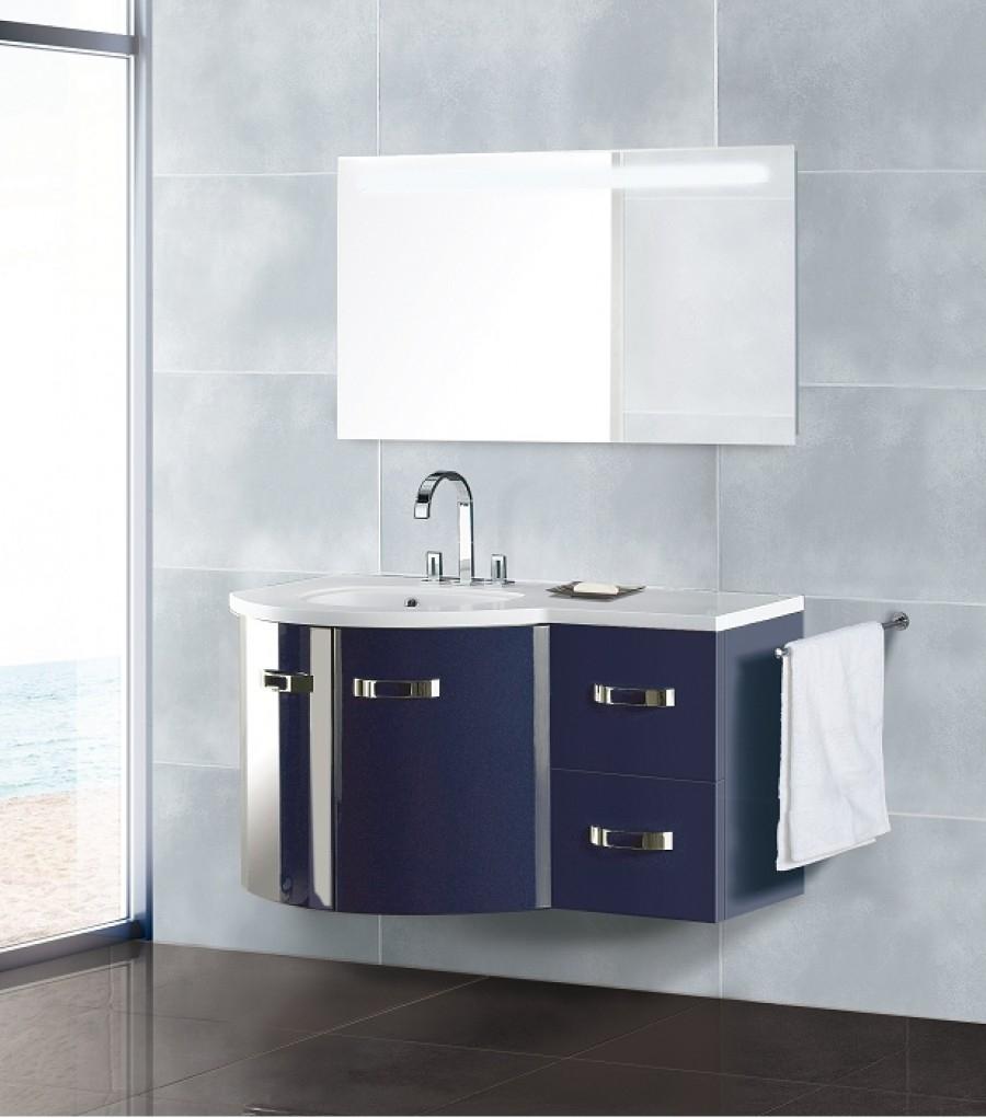 meuble simple vasque yachting bleu nuit vasque gauche bloc meuble de. Black Bedroom Furniture Sets. Home Design Ideas