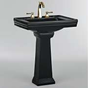 Lavabo 3 trous + colonne rétro céramique noire Ascott