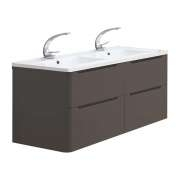 Meuble double vasque 120cm Toola Argile sans miroir