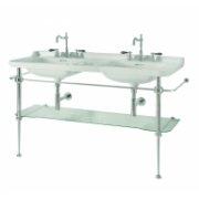 Ens. vasque double rétro monotrou + piètement chromé WALDORF