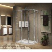 Paroi 1/4 de rond 2 portes coulissantes LUNES 2.0 R 75x75 cm - Transparent - Silver