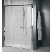 Paroi de douche sans seuil, 2 portes coulissantes + 1 fixe LUNES 2.0 3PH - Différentes tailles