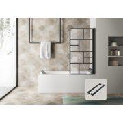 Pare-baignoire pivotant et relevable CUBE Noir mat - Verre traité anti-calcaire