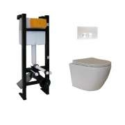 Pack WC Bâti-support Evo + Cuvette sans bride KELOS + Plaque Blanche