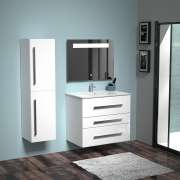 Meuble TERCIO 80cm Blanc Brillant avec miroir Kathy