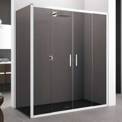 Porte de douche seule à 4 panneaux coulissants Zephyros 2A verre Fumé