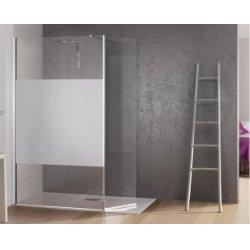 Paroi de douche fixe avec bande centrale dépolie + volet pivotant Kinespace Duo 70+45