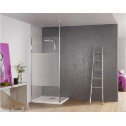 Paroi de douche fixe Kinespace Solo avec Mât avec bande centrale dépolie 70 cm