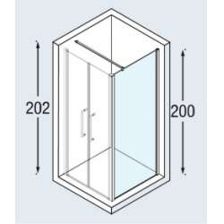 Paroi latérale Young 2.0 F1B 57-59 cm verre Transp prof Silver
