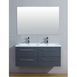 Meuble double vasque 117 Saturn 2.0 Gris Brillant miroir Slim