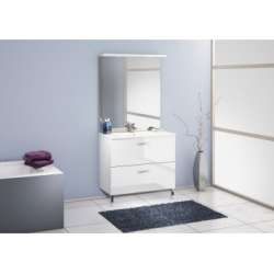 Meuble simple vasque 90 cm CHANGO Cristal Blanc