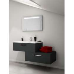 Meuble simple vasque VOGUE/LOFT 90 Opale Anthracite