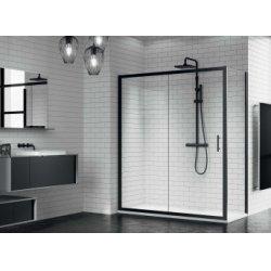 Porte coulissante ZEPHYROS 2P 100cm - Verre transparent - Profilés Noir