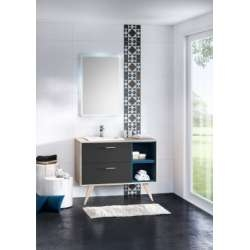 Meuble simple vasque MOSAÏQUE 109 cm Opale Anthracite et Myrtille