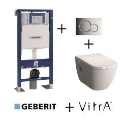 Pack WC Geberit UP320 + Cuvette D-Light VitraFresh + plaque Sigma chromé brillant