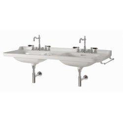 Double-vasque Rétro WALDORF en céramique - 3 trous