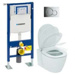Pack WC Geberit UP320 + Cuvette AquaBlade CONNECT + plaque Sigma Chromé brillant