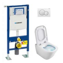 Pack WC Geberit UP320 + Cuvette GAP sans bride Cleanrim + plaque Sigma Blanche