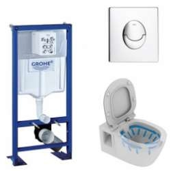 Pack WC Grohe Rapid SL + Cuvette Connect sans bride + Plaque Chromée