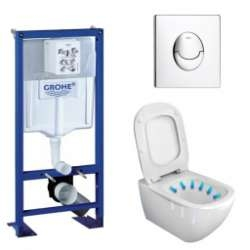 Pack WC Grohe Rapid SL + Cuvette Tesi AquaBlade Ideal Standard + Plaque Chromée