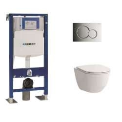 Pack WC Geberit UP320 + Cuvette sans bride Rimless + plaque sigma CHR brillante