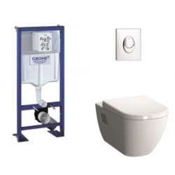 Pack WC Grohe Rapid SL + Cuvette D-Light Vitraflush 2.0 + Plaque Chromée