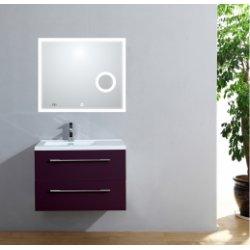 Meuble simple vasque 77 Saturn 2.0 Aubergine miroir Lite**