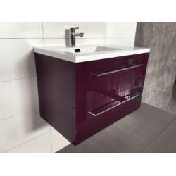Meuble simple vasque 80cm Saturn 2.0 Aubergine sans miroir