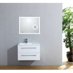 Meuble simple vasque 77 Saturn 2.0 Blanc Brillant miroir Lite