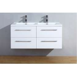 Meuble double vasque 120cm Saturn 2.0 Blanc Brillant sans miroir