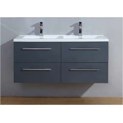 Meuble double vasque 120cm Saturn 2.0 Gris Brillant sans miroir