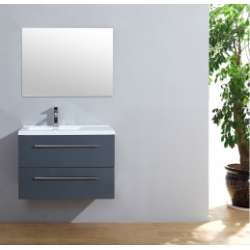 Meuble simple vasque 77 Saturn 2.0 Gris Brillant miroir Slim