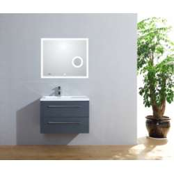 Meuble simple vasque 77 Saturn 2.0 Gris Brillant miroir Lite