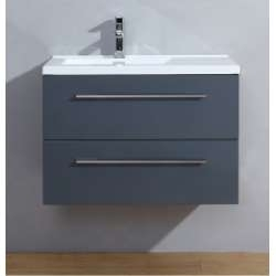 Meuble simple vasque 80cm Saturn 2.0 Gris Brillant sans miroir