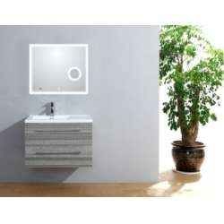 Meuble simple vasque 77 Jupiter 2.0 Bois Gris Scié miroir Lite**