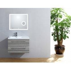 Meuble simple vasque 77 Jupiter 2.0 Bois Gris Scié miroir Lite