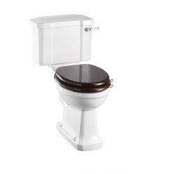 WC Compact BURLINGTON avec levier de réservoir en céramique 520 - Abattant frein de chute Acajou