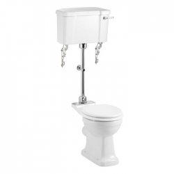 WC BURLINGTON avec levier de réservoir en céramique Taille moyenne 520 - Abattant frein de chute Blanc