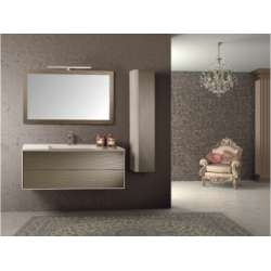 Meuble simple vasque PARIGI MIRROR Crème Rosé Mat - Compo 1