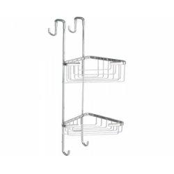 Porte-objets d'angle 2 bacs pour cabine de douche - Gedy - 5685