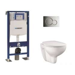Pack WC Geberit UP320 + Cuvette GROHE sans bride Bau Ceramic + plaque sigma CHR brillante