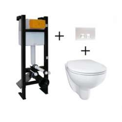 Ensemble WC Bâti-support Evo + plaque Blanche + cuvette suspendue Bau Ceramic