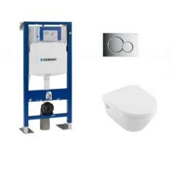 Pack WC Geberit UP320 + Cuvette Architectura D Villeroy + plaque Sigma Chromé Brillant