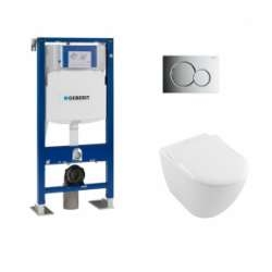 Pack WC Geberit UP320 + Cuvette VILLEROY ET BOCH Subway 2.0 + plaque Sigma Chromé Brillant