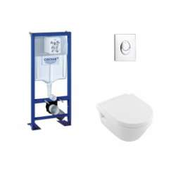Pack WC Grohe Rapid SL + Cuvette Architectura D Villeroy + Plaque Chromée