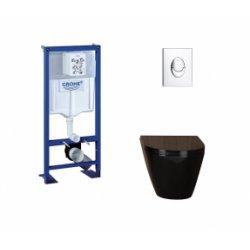 Pack WC Grohe Rapid SL + Cuvette Kartell Noire + Plaque Chromée