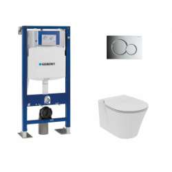 Pack WC Geberit UP320 + Cuvette Aquablade CONNECT AIR + plaque Sigma Chromé Brillant