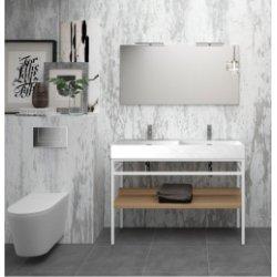 Meuble double-vasque STEEL 120 cm - Acier Blanc + Hêtre Lamina Naturel