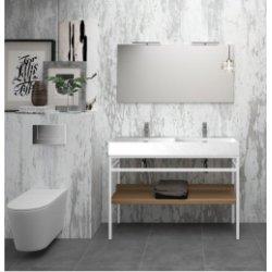 Meuble double-vasque STEEL 120 cm - Acier Blanc + Hêtre Lamina Foncé