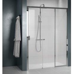 Paroi de douche 2 portes coulissantes + 1 fixe LUNES 2.0 3PH 100 cm - Transparent - Chromé - Ouv. Droite